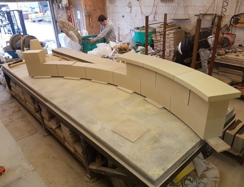 Smooth bath stone finish radius garden wall/bench with copings for garden in Bath, Somerset